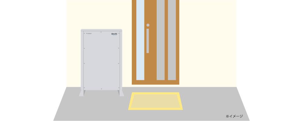 設置スペース、大型蓄電池が玄関横に